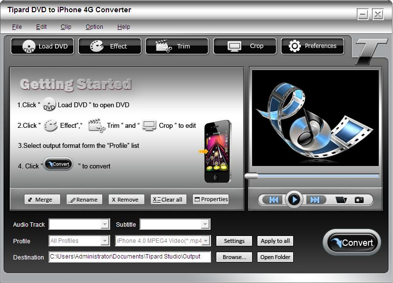 DVD to iPhone 4G Converter screenshot Screenshot