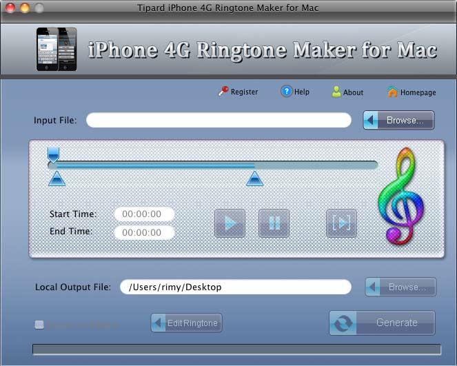 iPhone 4G Ringtone Maker for Mac Screenshot