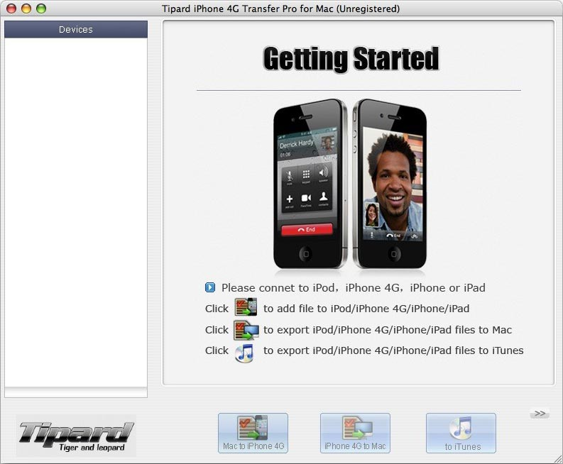 iPhone 4G Transfer for Mac screenshot Screenshot