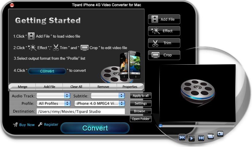 iPhone 4G Video Converter for Mac screenshot Screenshot